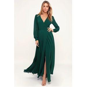 Emerald Green Long Sleeve Gown.